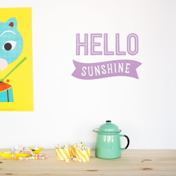 'Hello Sunshine' Lavender Quote - Wallsticker