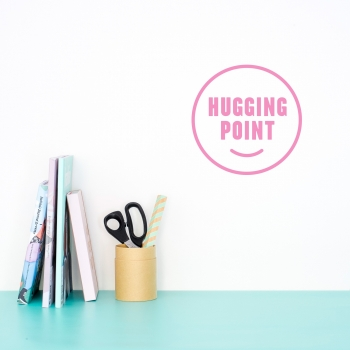 'Hugging Point' Pink Quote - Wallsticker
