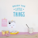 'Enjoy The Little Things' Blue Quote - Wallsticker