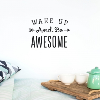 'Wake Up Awesome' Pink Quote - Wallsticker
