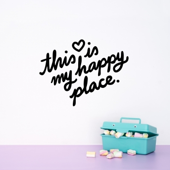 'This Is My Happy Place' Pink Quote - Wallsticker