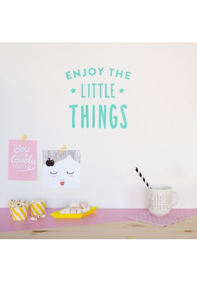 'Enjoy The Little Things' Mint Quote