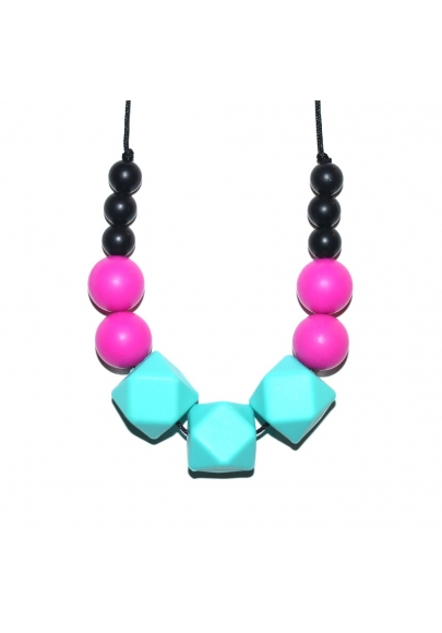 Amy - Black / Fuchsia / Turquoise Hexagone Teething Necklace