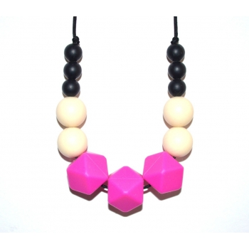 Evie - Black / Cream / Fuchsia Hexagone Teething Necklace