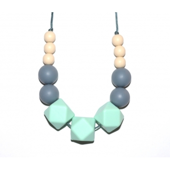 Elizabeth - Cream / Grey / Mint Hexagone Teething Necklace