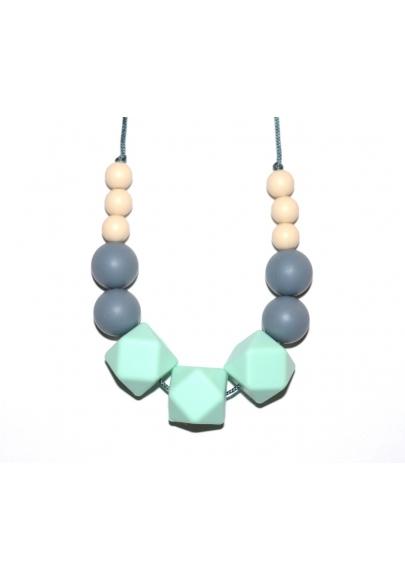 Elizabeth - Cream / Grey / Mint Hexagone Teething Necklace