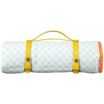 Waxed Cotton Outdoor Baby Playmat - Mint Round in Circles