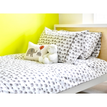 Grey Elephant Pillow Cover