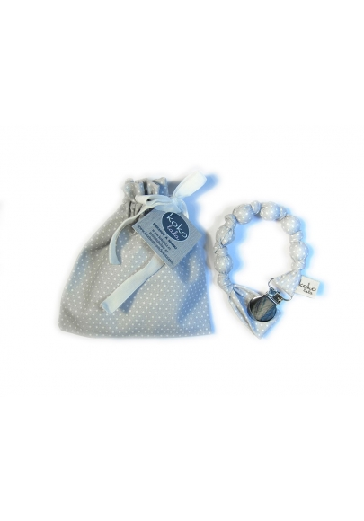 Grey/blue with White Dots Pacifier Holder