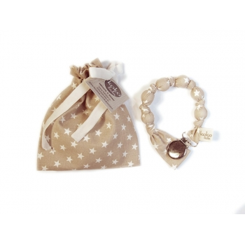 Beige with White Stars Pacifier Holder