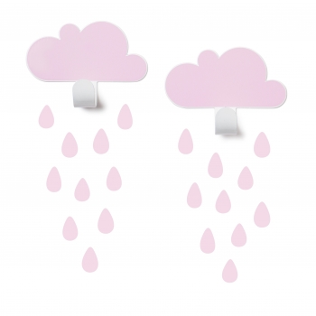 Pink Cloud Wall Hooks & 20 Rain Drop Stickers