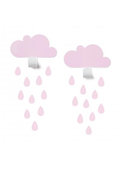 Pink Cloud Wall Hooks & 20 Rain Drop Stickers