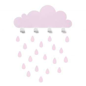 Pink Big Cloud Wall Hook & 20 Rain Drop Stickers