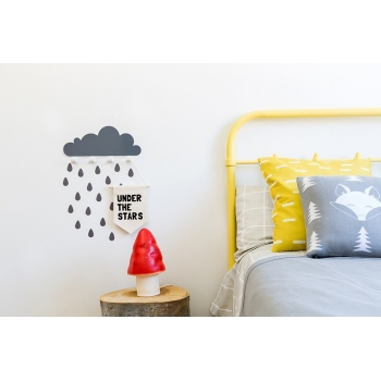 Grey Big Cloud Wall Hook & 20 Rain Drop Stickers