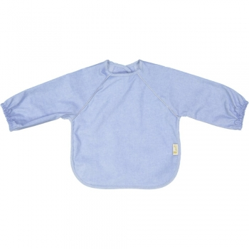 Chambray Coated Eating Bib with Long Sleeves