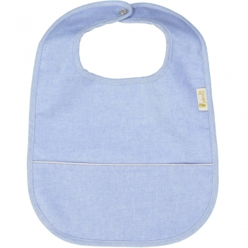 Chambray Coated Eating Bib with Pouch
