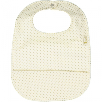 Golden Dots Coated Eating Bib with Pouch