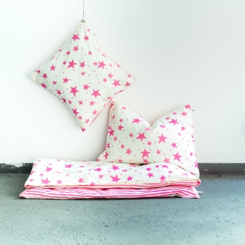 Neon Pink Stars & Stripes Kids Bedding