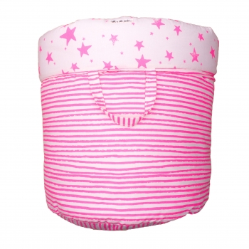 Neon Pink Stars & Stripes Large Storage Basket