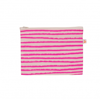 Neon Pink Stripes Medium Pencil Case