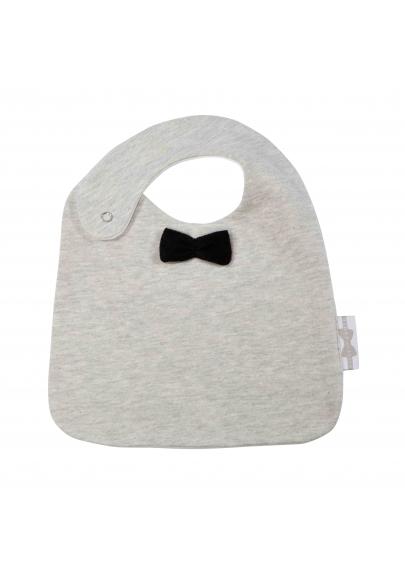 Stone Grey with Black Bow Tie Eating Bib
