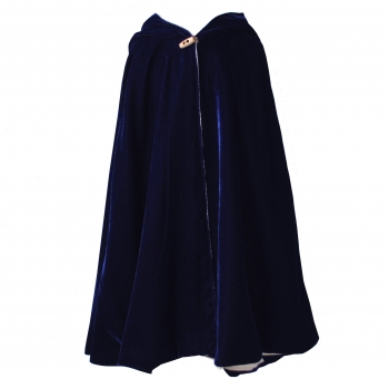 Navy Velvet Hooded Cape