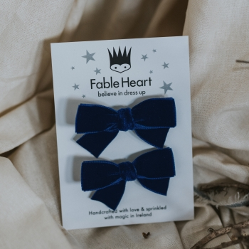 Navy Velvet Hair Bow