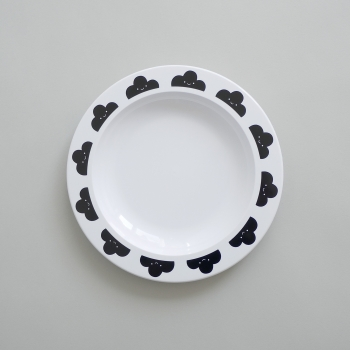 Black Happy Clouds Plate