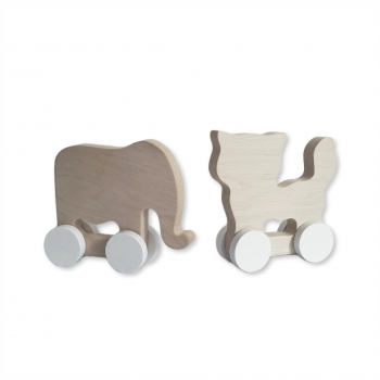 Wooden Cat & Elephant - Mini Set