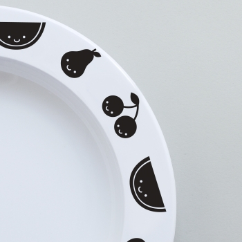 Black Fruit Friends Plate