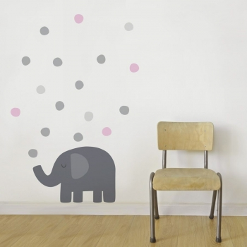 Pink Elephant Wall Sticker