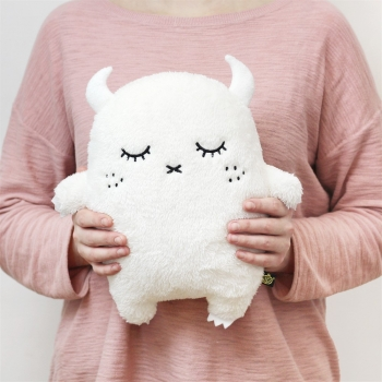 Ivory Plush Monster Cushion Ricepuffy
