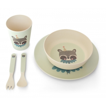 Circus Raccoon Bamboo Dinner Set