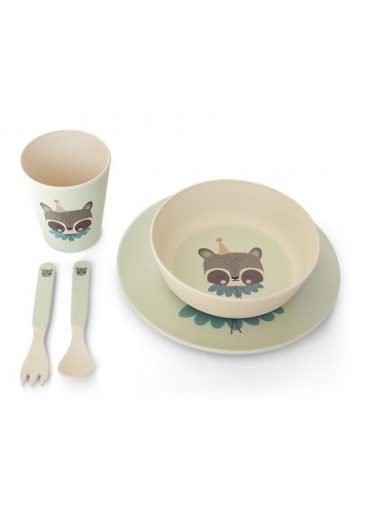 Circus Raccoon Bamboo Dinner Set