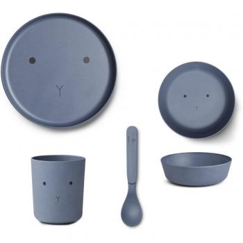 Rabbit Blue Wave Bamboo Table Set