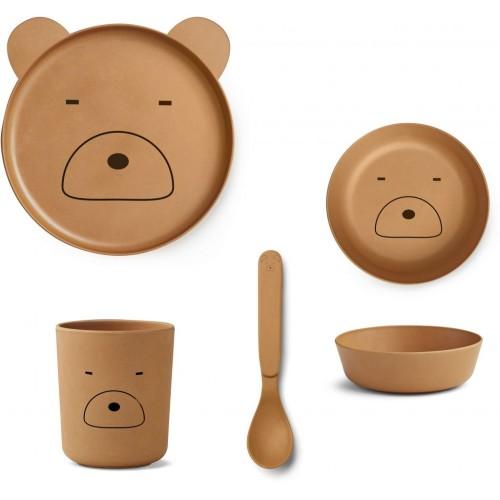 Mr Bear Mustard Bamboo Table Set