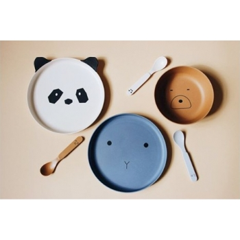 Rabbit Blue Wave Bamboo Table Set