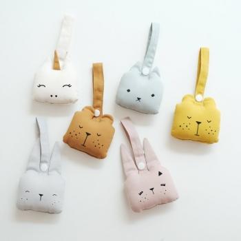 Bunny Animal Rattle Ice Grey