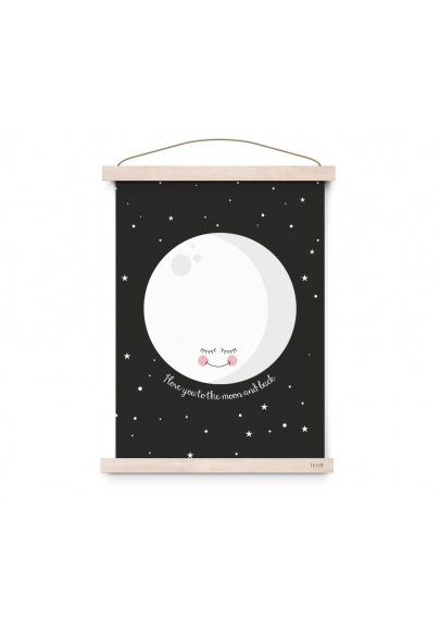 Moon Black Poster