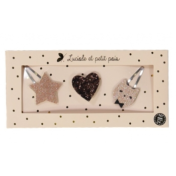 Rose Gold Star Hair Clip & Brooch Gift Set - 3 pieces