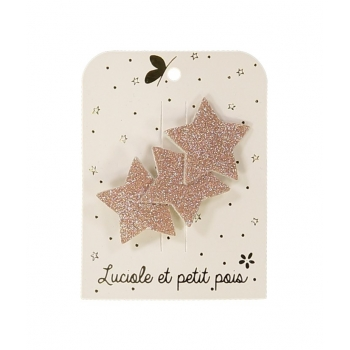 Three Stars Rose Glitter Hair Clip