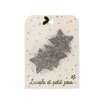 Three Stars Bronze Glitter Hair Clip