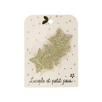 Three Stars Golden Glitter Hair Clip