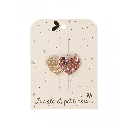Mini Two Hearts Rose Glitter Hair Clip