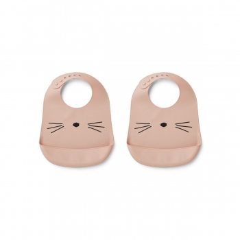 Silicone Bib Tilda Cat Rose - 2 pack