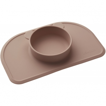 Dark Rose Silicone Placemat with Bowl - Polly
