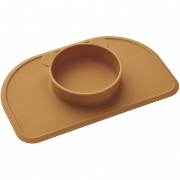 Mustard Silicone Placemat with Bowl - Polly