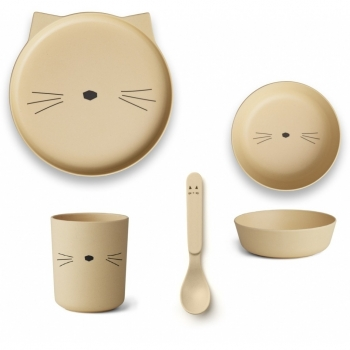 Smoothie Yellow Cat Bamboo Table Set