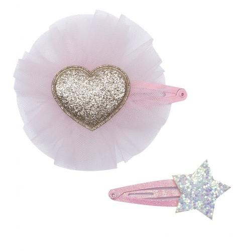 Sparkly Heart & Star Hair Clip Set