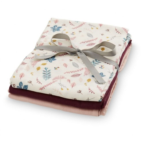Muslin Cloth 3 pack - Pressed Leaves, Bordeaux, Blossom Pink